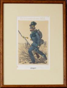 STAROZITNA LIROGRAFIE VOJAK 1850 MYSLIVEC JAGER