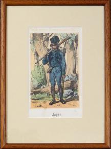 STAROZITNA LIROGRAFIE VOJAK 1820 MYSLIVEC JAGER