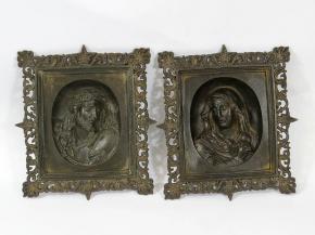 STAROZITNE ZAVESNE PLASTIKY RELIEFY KRISTUS A MARIA UMELECKA LITINA