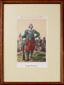 STAROZITNA LIROGRAFIE VOJAK 1610 ARKEBUZIR ARQUEBUSSIER