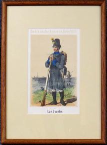 STAROZITNA LITOGRAFIE VOJAK 1809 ZEMEBRANA LANDWEHR