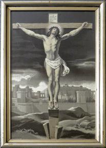 STAROZITNY FRANCOUZKY HEDVABNY  GOBELINEK KRISTUS JERUZALEM