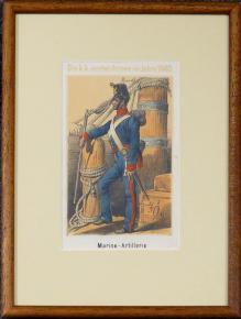 STAROZITNA LIROGRAFIE VOJAK 1840 NAMORNI DELOSTRELEC MARINE ARTILLERIE