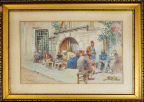 STAROZITNY OBRAZ AKVAREL KAVARNA CARIHRAD ISTANBUL