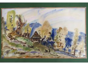 obraz akvarel milos simurda z pod radhosta