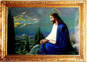 STAROZITNY OBRAZ SEDICI JEZIS KRISTUS OLEJ LEPENKA BLONDEL RAM