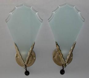 STAROZITNE PAROVE NASTENNE LAMPY LAMPICKY FRENCH ART DECO JEAN NOVERDY