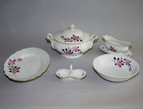 starozitna jidelni souprava servis stara role terina omacnik slanka misa tac ruze porcelan