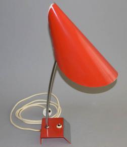 STAROZITNA RETRO STOLNI LAMPA JEPTISKA JOSEF HURKA NAPAKO TYP 0513 BRUSEL 60 LETA CERVENA LAMPICKA