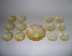 starozitna kompotova a dortova souprava misky zlute sklo rudolf hlousek zelezny brod art deco