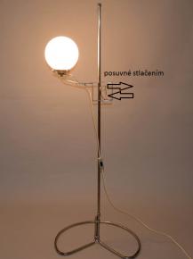 STAROZITNA PODLAHOVA STOJACI LAMPA OHYBANE NIKLOVANE TRUBKY POSUVNE STINITKO FUNKCIONALISMUS HALABALA LAMP LIGHT