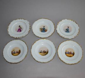 starozitne dezertni talire dalwitzer fabrik franz urfus 1855 porcelan dalovice deti slechticna zlaceni rucni malba 19 stoleti