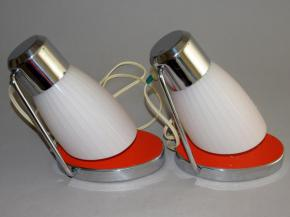 STAROZITNE PAROVE STOLNI LAMPICKY CHROM CERVENY LAK BRUSEL DRUPOL TYP 21620