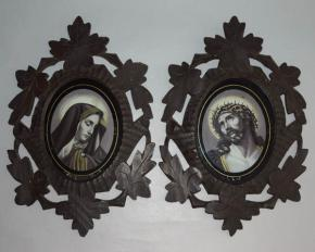 STAROZITNE REZBOVANE RAMECKY MARIE A JEZIS SKLO RAMECEK VYREZAVANY RAM PAR