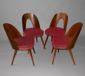 starozitne zidle brusel antonin suman 60 leta orech dyha cervene calouneni chair stuhl design