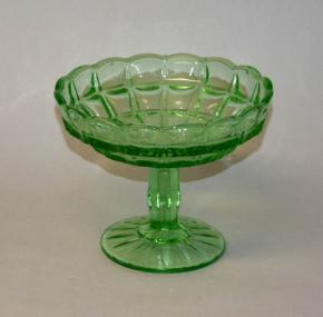 stary skleneny nastolec misa na ovoce zeleno sklo lisovane