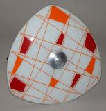 starozitny lustr talir cervenooranzovy vzor geometrie zukov brusel 60 leta