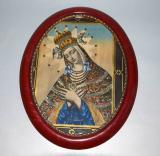 starozitny ovalny obraz svata panna marie graficky tisk
