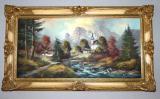 stary zlaceny ram na obraz zrcadlo horska krajina s potokem na platne