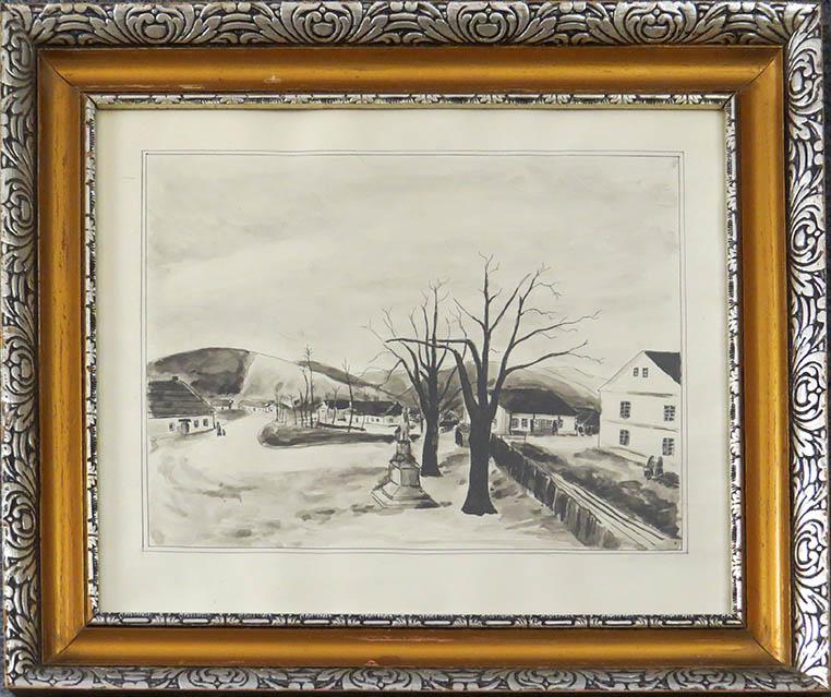 Starozitny Obraz Milos Kulistak Zimni Krajina Roznov Pod Radhostem