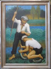 STAROZITNY VELKY LOVECKY OBRAZ OLDRICH KERHART RYBARI  RYBOLOV