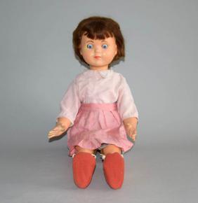 starozitna panenka chodicka mrkaci oci hnede vlasy detska hracka