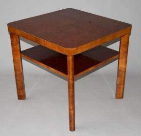 starozitny konferencni stolek orech dyha halabala funkcionalismus ockova korenovice stul s polici up zavody