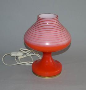 stara retro stolni lampa celosklenena cervena s pruhy stepan tabera opp jihlava typ m2 5 brusel