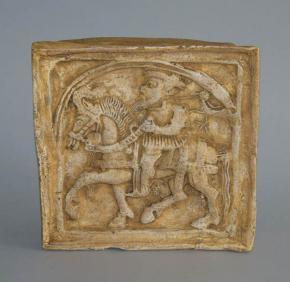 starozitna zavesna plastika kachel rytir na koni keramika dekorace na zed