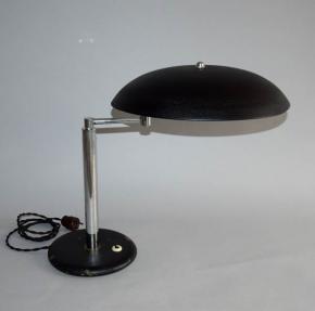 starozitna stolni lampa kancelarska design alfred muller pro firmu amba bauhaus funkcionalismus chrom cerny lak
