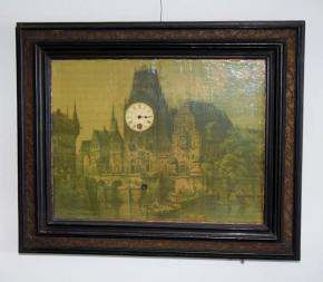starozitne hodiny obraz romanticka krajina s hradem a lodickami anaplast 19 stoleti hraci stroj