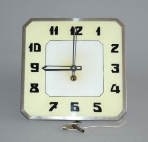 starozitne nastenne hodiny funkcionalismus chrom sklo