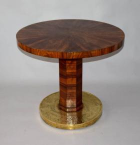 starozitny jidelni stul kulaty konferencni stolek art deco mosazna pata orechova dyha skladana