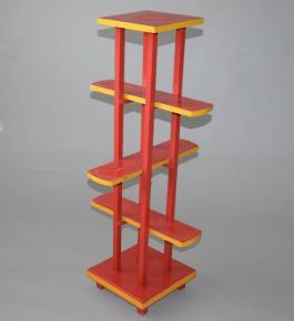 starozitny kvetinovy stolek etazer drevo cerveny a zluty lak bauhaus stojan na kvetinace