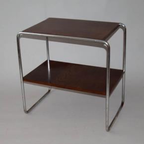 starozitny odkladaci stolek dve police t,avsi drevo chromove trubky funkcionalismus