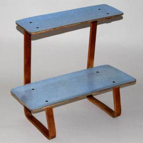 stary retro kvetinovy stolek umakart brusel 60 leta etazer modry umakart