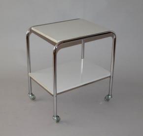 starozitny servirovaci stolek pojizdny chromovy bily umakart brusel