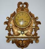 stare kartelove hodiny nastenne zlacene drevo papousci